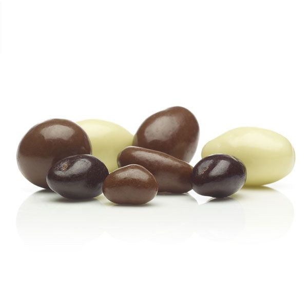 A mixture of pure milk, dark and white chocolate coated on Australian fruit and nuts.