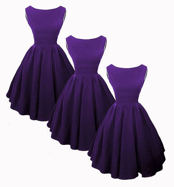 These bridesmaid dresses are sooo perfect for a retro themed wedding with a purple color scheme!!