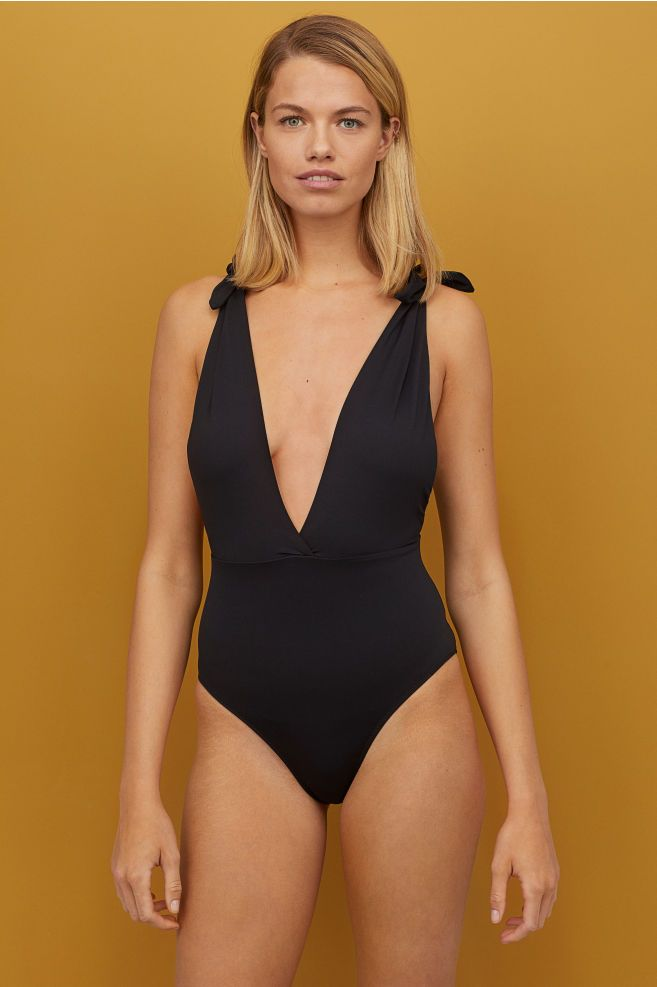 2c0bb4fcbbd V-neck Swimsuit in 2019 | FITS MY AESTHETIC | Swimwear, Black ...