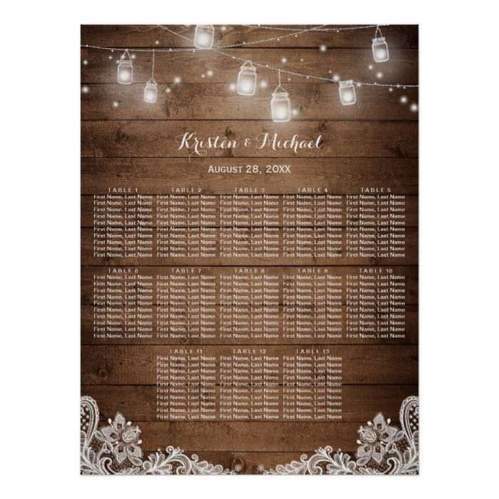 Customizable #13#Tables #Barn#Wood #Elegant #Lace #Mason#Jars #Outdoor#Wedding #Rustic #Rustic#Country #Seating#Chart #Seating#Tables #Summer #Vintage #Wedding #Wood 13 Tables Rustic String Lights Seating Chart Poster available WorldWide on http://bit.ly/2fYG1i7