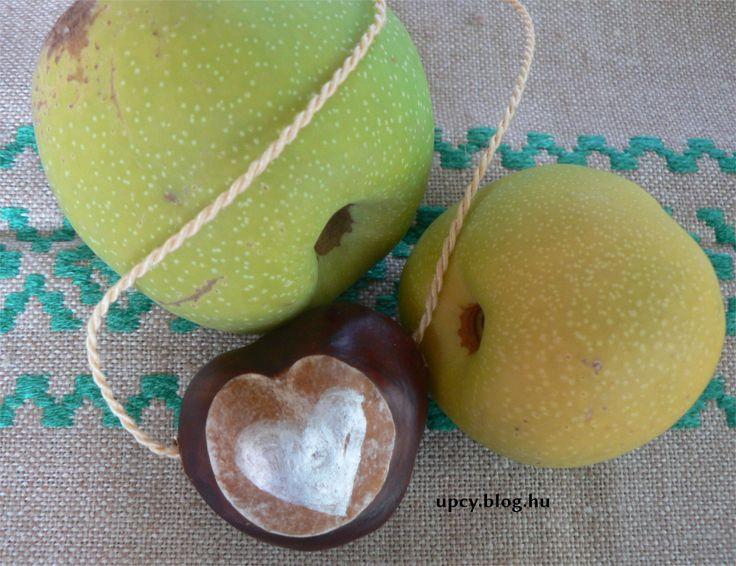 Painted chestnut necklace, pendant.Tutorial. festett gesztenye medál vagy nyaklánc - útmutató.