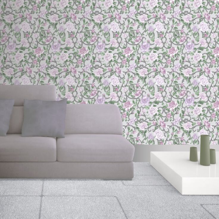 Add elegance to any room with this purple floral wallpaper from Muriva's Rose Trellis Wallpaper Collection. Available online at Go Wallpaper UK