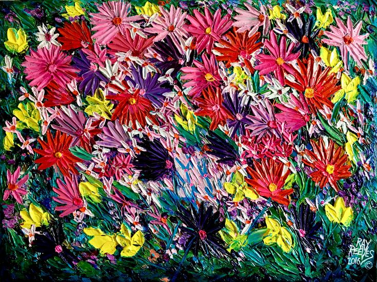 """Wild Flowers"" Acrylic on canvas artist Ray Reeves"
