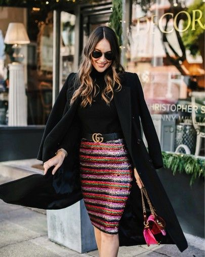 2277dbd6bec9c Sequin Striped Skirt styled by Kathleen Barnes of Carrie Bradshaw Lied  kathleen barnes