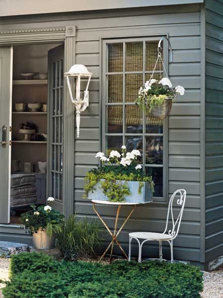 For front porch--To get the classic cottage look shown here, simply repeat the same plant combo in a pot, hanging basket, and window box all grouped together for impact.