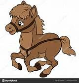 Dibujos animados animales de granja. Sonrisas de caballo lindo... Ilustración de vector EPS 10 ...