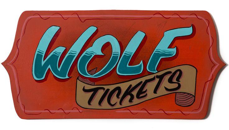 """""""Wolf Tickets"""" by Kieran Hadley Enamel paint on hand shaped reclaimed ply. 53cm x 26cm www.hangingmangallery.com  #hangingmangallery"""