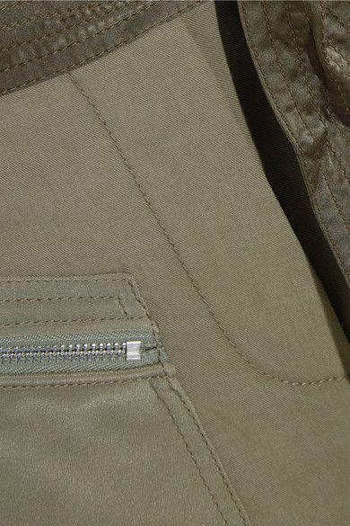 3.1 Phillip Lim - Cropped Silk Satin-paneled Twill Pants - Army green - US12