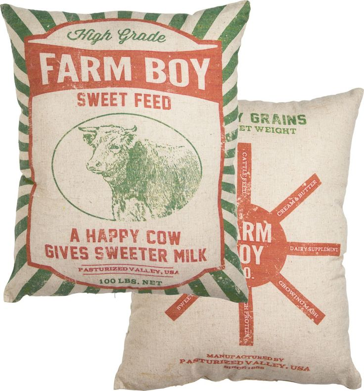Grain Sack Pillow-Farm Boy