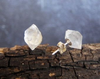 Herkimer Diamond Earrings, Raw Herkimer Diamond, Dainty Earrings, Crystal Earrings, Quartz Earrings, Gemstone Earrings, Diamond Earrings