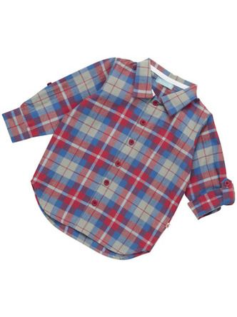 Beautiful woven boy's shirt in Hetton Red, Blue & Grey Check made from organic cotton