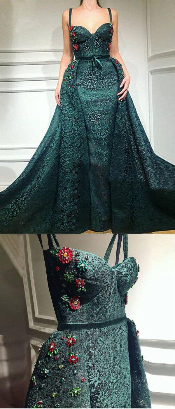 Green mermaid beautiful prom dress cheap african long prom dress