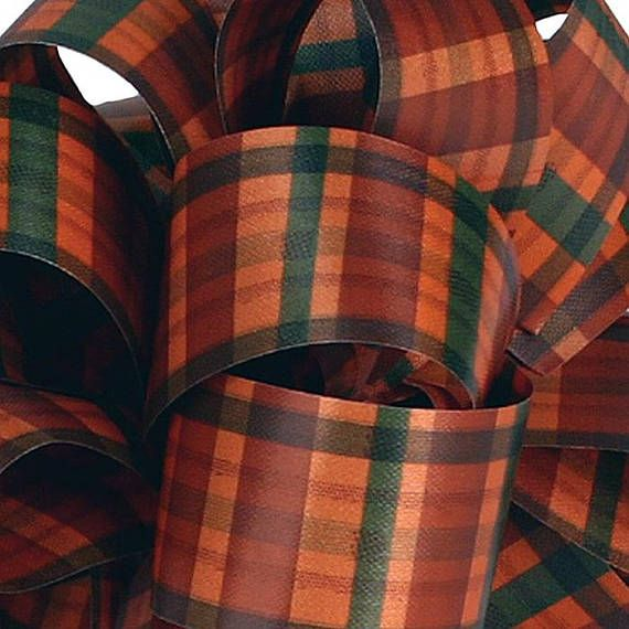 2 3/8-inch orange plaid waterproof ribbon 100% polypropylene Sold in 1-, 3- and 5-yard lengths. If you would like a longer piece of ribbon, send me a message and Ill add the length to the listing. All ribbon orders are cut as one continuous piece unless you message me and tell me otherwise. Sales tax is calculated on all Ohio orders. If you are exempt, please send me a copy of a signed Sales and Use Tax Unit Exemption Certificate available here: http://www.tax.ohio.gov/...