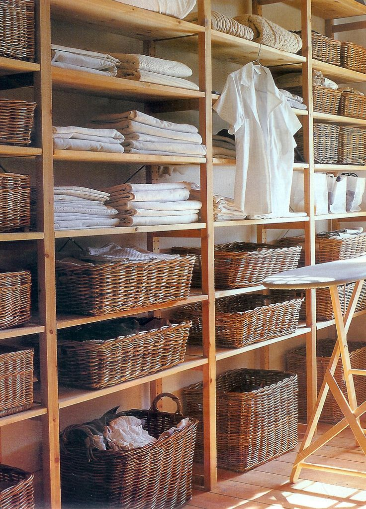 baskets & open shelving for laundry
