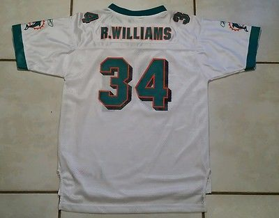 Vintage REEBOK Miami Dolphins NFL Ricky Williams WHITE  Jersey Youth  XL