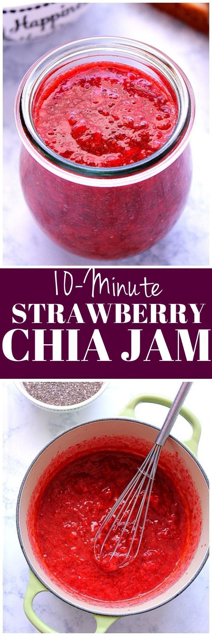 This sugar-free Strawberry Chia Jam Recipe takes only 10 minutes to make and can be made with any fruit you like! Perfect healthier jam with benefits of chia seeds.