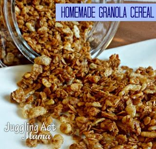 Homemade Granola Cereal via Juggling Act Mama. I only bake for 30 min. Otherwise it burned. We also used Cheerios in place of rice crispies.