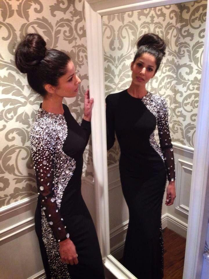 Long Gowns Online Heavy Rhinestones Black Prom Long Dresses With Sleeves O Neck Fitted Women Formal Evening Party Dress Beaded 2016 Custom Made Plus Prom Dresses From Adminonline, $148.69| Dhgate.Com