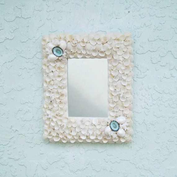 Seashell Mirror or Frame White and Aqua Shell by SandisShellscapes