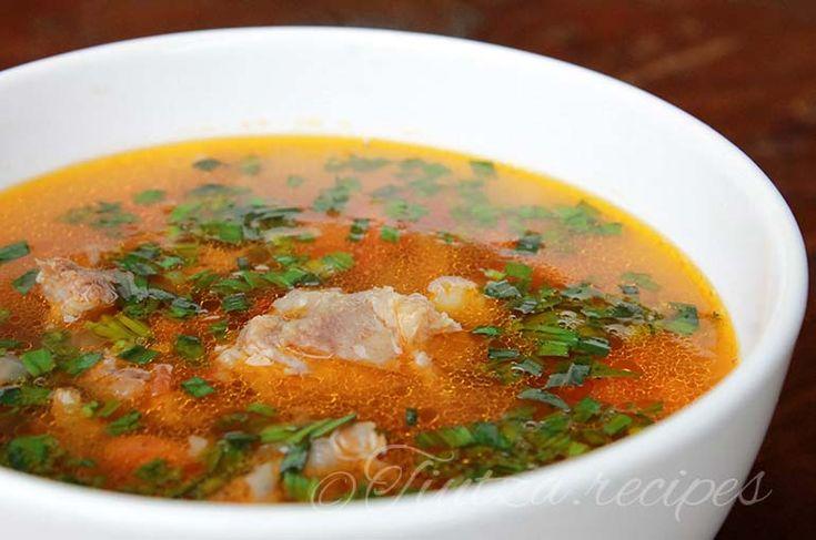 Porc soup with vegetables and bors https://tiutza.recipes/ciorbe/ciorba-taraneasca-cu-carne-de-porc-legume-si-bors/