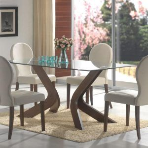 Glass Dining Room Table With White Base