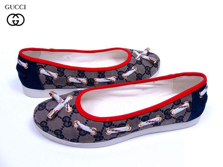 Achat Mocassin Chaussure Gucci Femme Marron Carreaux Ballerines Pas Cher-Chaussures Femme