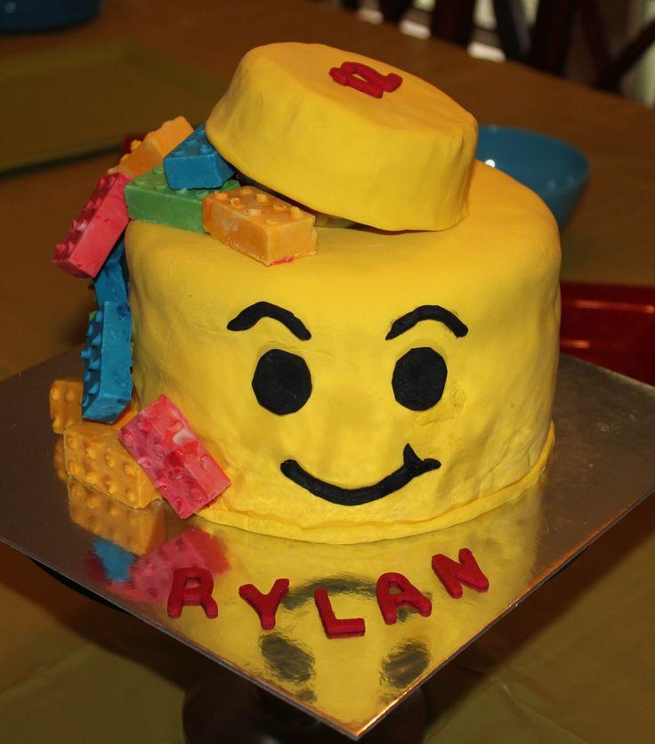 Lego man with blocks birthday cake