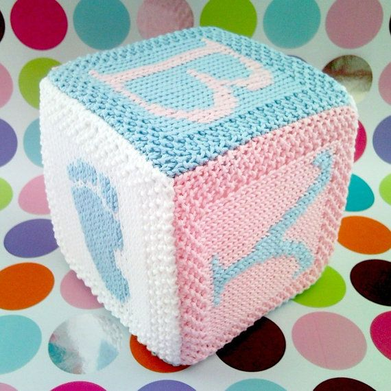 PDF Knitting pattern Baby cube toy with hand and foot print motifs - now with Etsy instant download