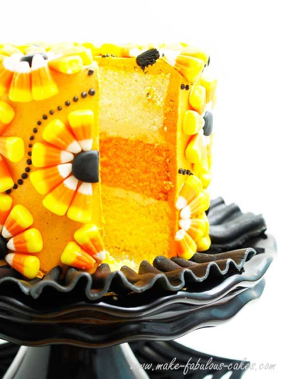 Halloween candy corn cake - beautifully decorated with candy corn, even the cake layers are candy corn colors!