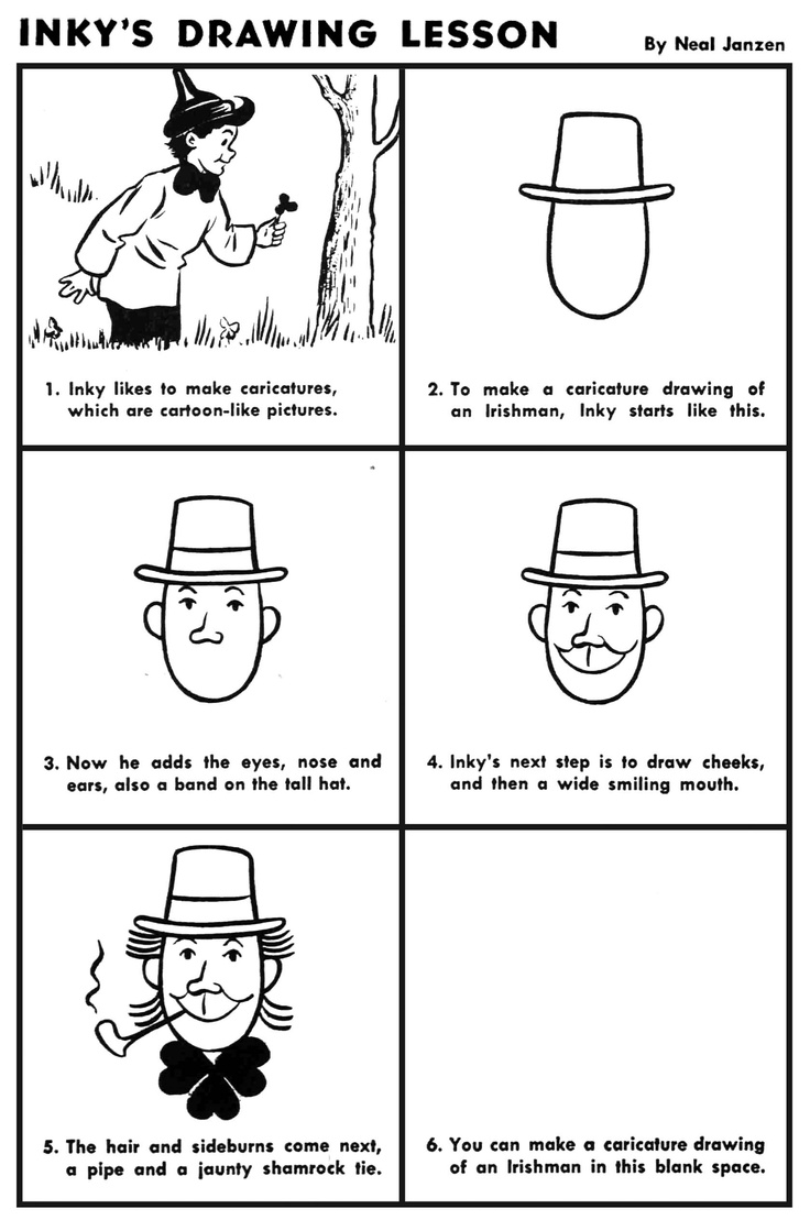 how to draw a leprechaun step by step for kids