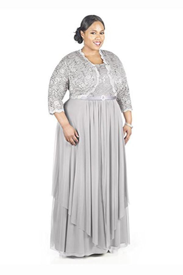 Gray A Line Floor Length Scoop Neck Zipper Back Pleats Mother of the Bride Dresses M17