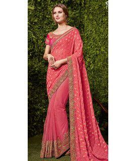 Striking Pink Chiffon Saree.