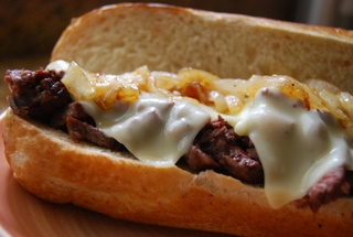 The Garden of Yum: Grilled Sirloin Steak Sandwich With Caramelized Onions And Horseradish Mayo