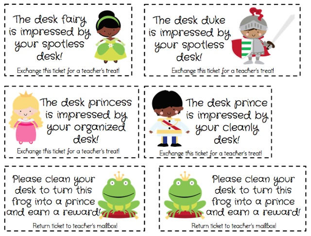 I already do desk fairy in my classroom but I like the idea of desk duke or prince for boys and the reminder for those who have a messy desk :)