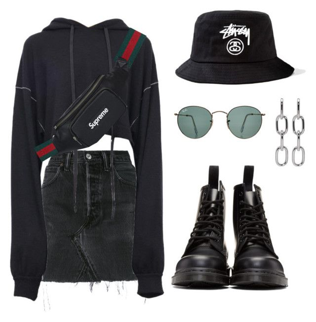 """- WAITING GAME -"" by eemma-eklund ❤ liked on Polyvore featuring RE/DONE, Unravel, Dr. Martens, Gucci, Alexander Wang, Stussy and Ray-Ban"