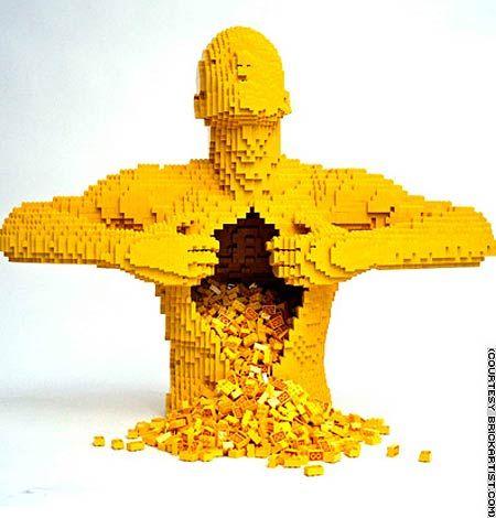 lego Sculpture #legos #legobricksArtists, Awesome Lego, Geek Stuff, Art Sculpture, Lego Sculpture, Lego Man, Lego Art, Lego Creations, Legoman