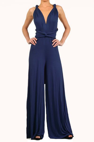 Convertible Jumpsuit Wrap yourself in a sure fire color of elegance and have designing your own style. Features a 90 strap that can be wrapped and tye on infinite ways. Clear elastic detail on waist for better support and fit.Wide Leg palazzo bottom. Soft Stratchable Cotton fell rayon jersey fabric.