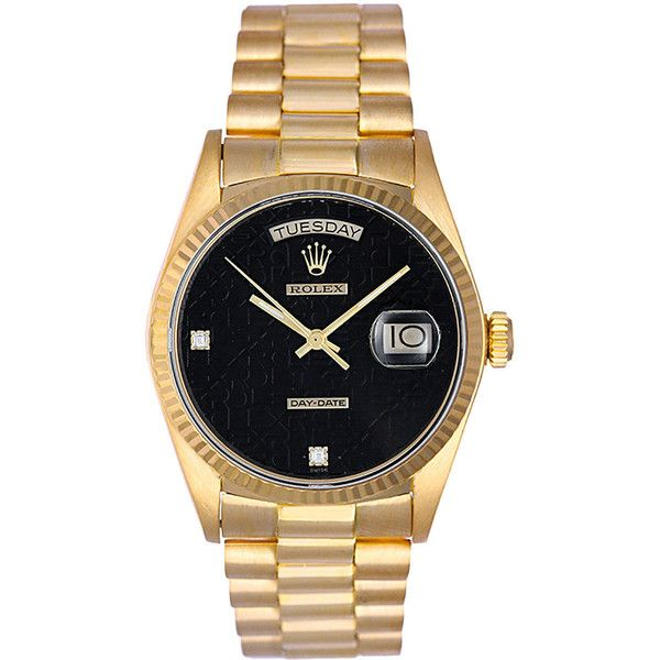 Pre-owned Rolex Gold Day-Date Black Jubilee Dial President Wristwatch... ($12,400) ❤ liked on Polyvore
