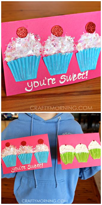 "Cupcake liner valentines craft/card for kids to make! ""You're Sweet!"" 