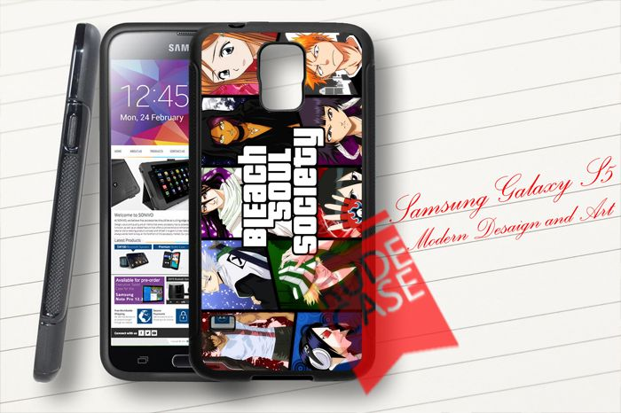 Samsung Galaxy S5 Custom Bleach Anime Bleach Soul Society Rubber Case