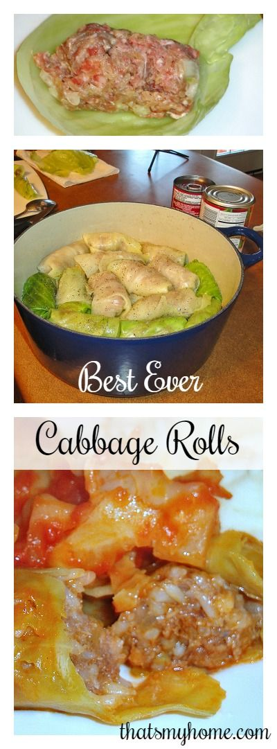 Olha eles aí de novo: rolinhos de repolho recheados!  Cabbage Rolls are made with ground beef, sausage, rice and onions are in the stuffing for this cabbage rolls recipe. » Recipes, Food and Cooking
