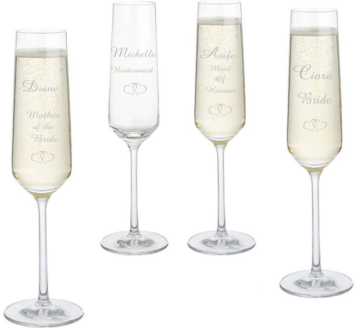 Personalised glass champagne flutes for your bridal party, a cute keepsake of the big day to!