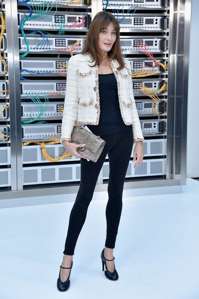 Carla Bruni attends the Chanel show as part of the Paris Fashion Week Womenswear Spring/Summer 2017  on October 4, 2016 in Paris, France.