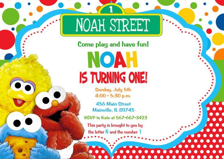 Baby Elmo Sesame Street First Birthday Invitation - Digital Printable File by PrettyPaperPixels on Etsy https://www.etsy.com/listing/213179418/baby-elmo-sesame-street-first-birthday