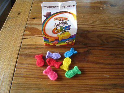 Chasing Cheerios: Rainbow Felt Goldfish: Rainbows Felt, Felt Rainbows, Felt Goldfish Eeeee, Rainbows Goldfish, Felt Fish, Chase Cheerio, Plays Food, Felt Food, Goldfish Crackers