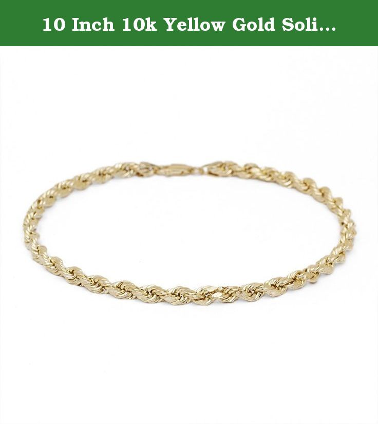 10 Inch 10k Yellow Gold Solid Diamond Cut Rope Chain Bracelet and Anklet for Men & Women, 2.25mm (0.09). This is a beautiful spiraling solid rope chain which closes with a secure lobster clasp. The 10k rope has a diamond-cut finish which accents the piece to have an 18k luster; therefore these ropes are extremely popular since they offer both, a classic design with maximum gleam.