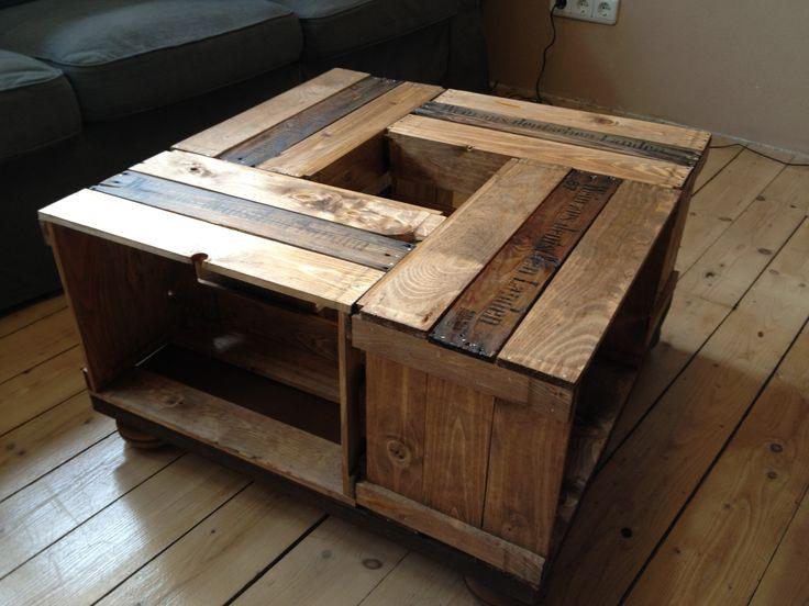 wohnzimmertisch aus alten weinkisten selbst gemacht pinterest. Black Bedroom Furniture Sets. Home Design Ideas