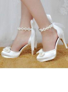 690f3383089 Women s Silk Like Satin Stiletto Heel Platform Pumps With Crystal Pearl  (047118980)