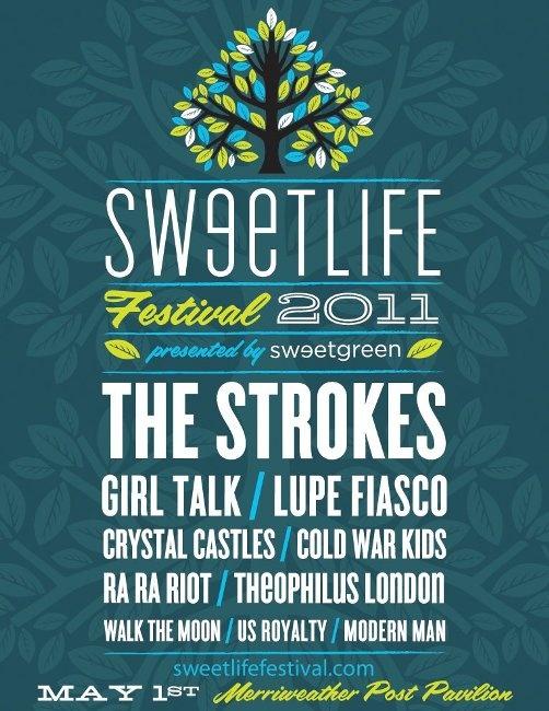 Sweetlife Festival poster 2011 #musicfestival #festival #poster #thestrokes #lupefiasco #coldwarkids