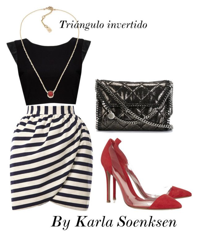 """Cuerpo triángulo invertido"" by karlasoenksen ❤ liked on Polyvore featuring Harvey Faircloth, Alice + Olivia, Gianvito Rossi, STELLA McCARTNEY and Lauren Ralph Lauren"